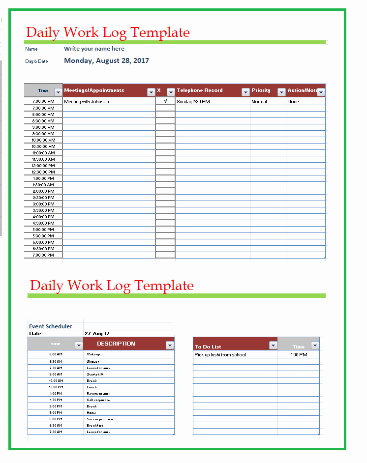 Daily Work Log Template Inspirational Free Word Templates