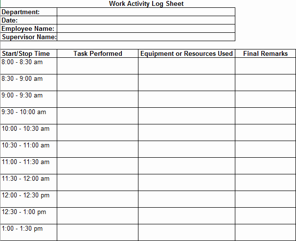 Daily Work Log Template New Daily Work Log Template Download In Ms Word
