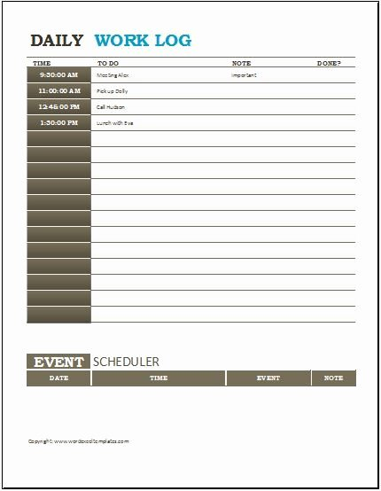 Daily Work Log Template New Daily Work Log Templates