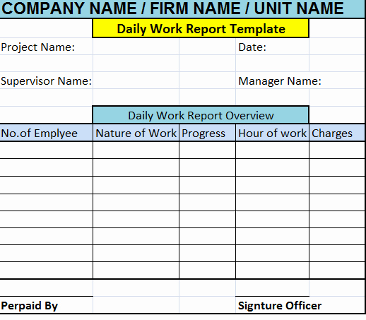 Daily Work Report Template Inspirational Daily Work Report Template – Free Report Templates