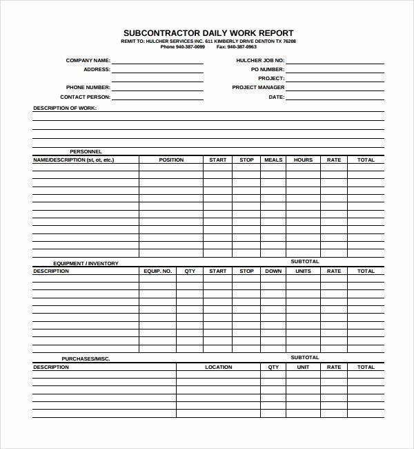 Daily Work Report Template Inspirational Sample Daily Work Report Template 7 Free Documents In Pdf