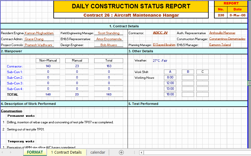 Daily Work Report Template Lovely Construction Daily Report Template Excel