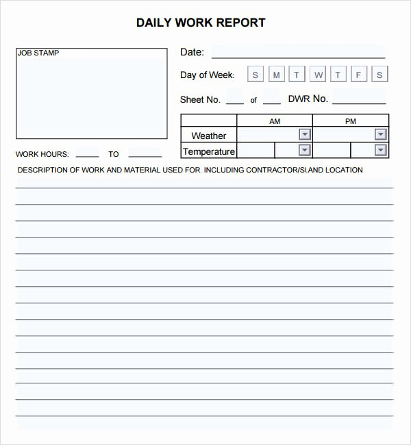 Daily Work Report Template Lovely Daily Report 7 Free Pdf Doc Download