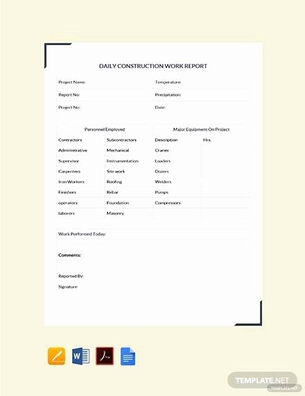 Daily Work Report Template Lovely Free 25 Sample Daily Reports In Google Docs