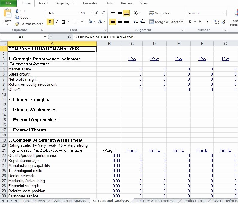 Data Analysis Report Template Unique Petitive Analysis Example Template Excel Tmp
