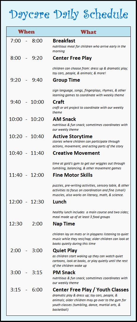 Daycare Staff Schedule Template Fresh Daycare Schedule On Pinterest
