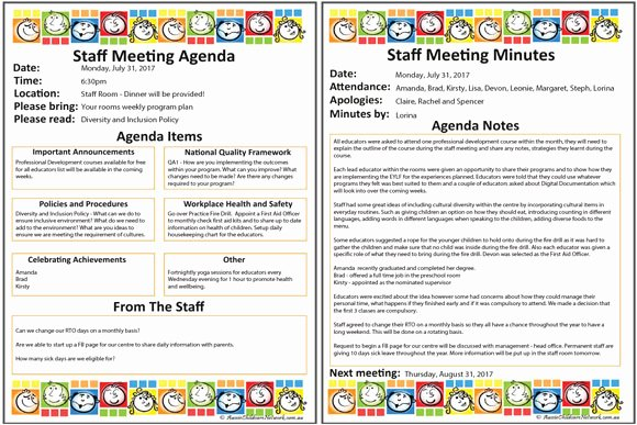 Daycare Staff Schedule Template Inspirational Staff Meeting Templates Pack Aussie Childcare Network