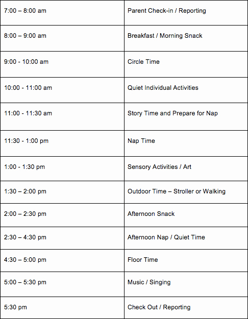 Daycare Staff Schedule Template Lovely Daily Daycare Schedules for Infants toddlers