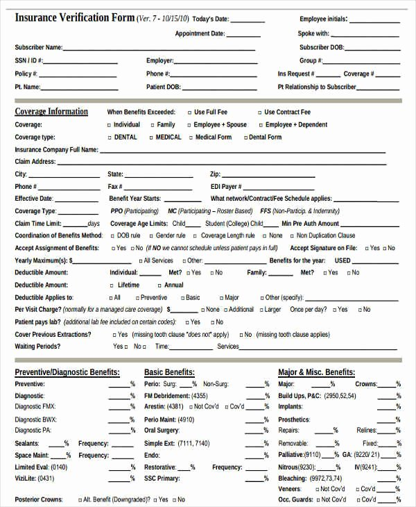 Dental Office forms Templates Awesome Free 23 Insurance Verification forms