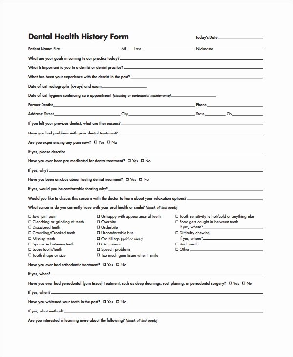 Dental Office forms Templates Beautiful Sample Health History Template 9 Free Documents