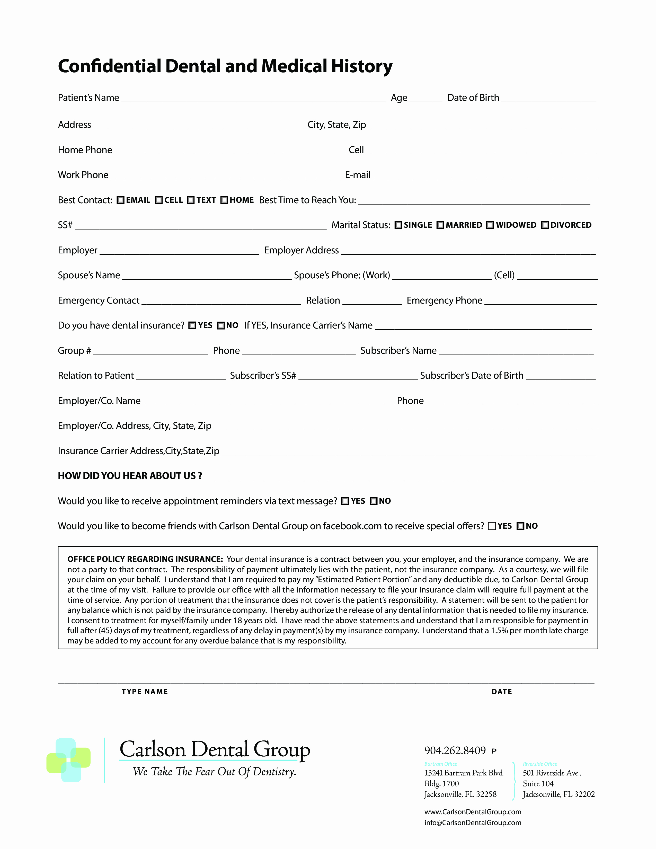 Dental Office forms Templates Inspirational Dental Medical History form