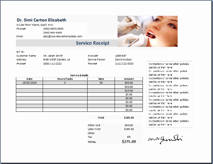 Dental Office forms Templates Inspirational Dentist Receipt Template Free