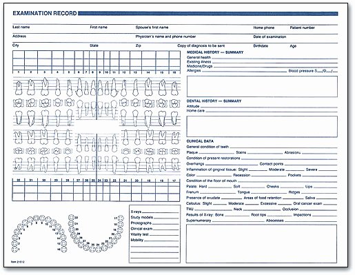 Dental Office forms Templates Lovely Examination Record form