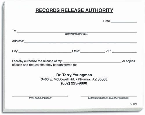 Dental Office forms Templates Luxury Records Release form