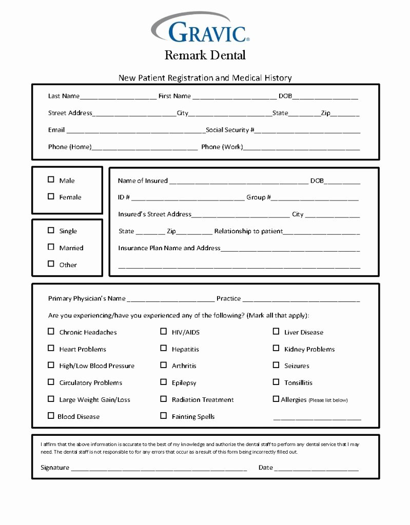 Dental Office forms Templates New Dental Patient History form · Remark software