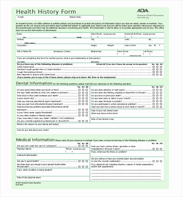 Dental Office forms Templates Unique Free 21 Sample Medical History forms
