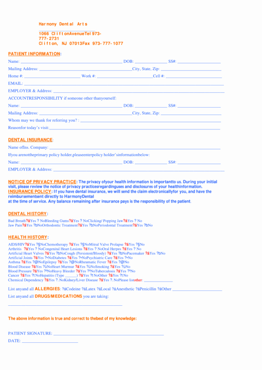 Dental Patient Registration form Template Awesome 103 Dental forms and Templates Free to In Pdf