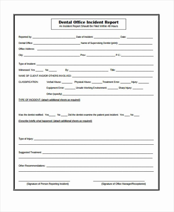 Dental Patient Registration form Template Beautiful Free 40 Sample Incident Report forms In Pdf