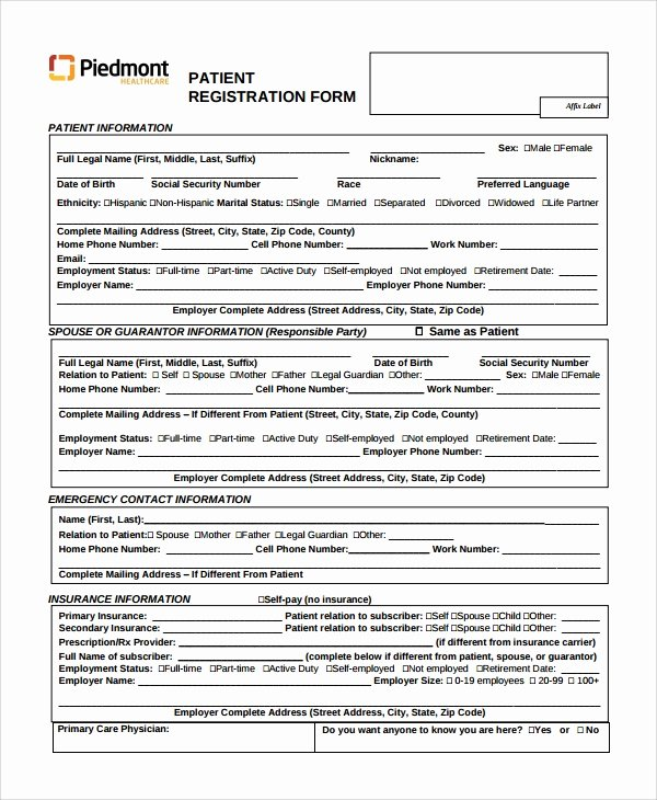 Dental Patient Registration form Template Beautiful Sample Patient Registration form 8 Free Documents