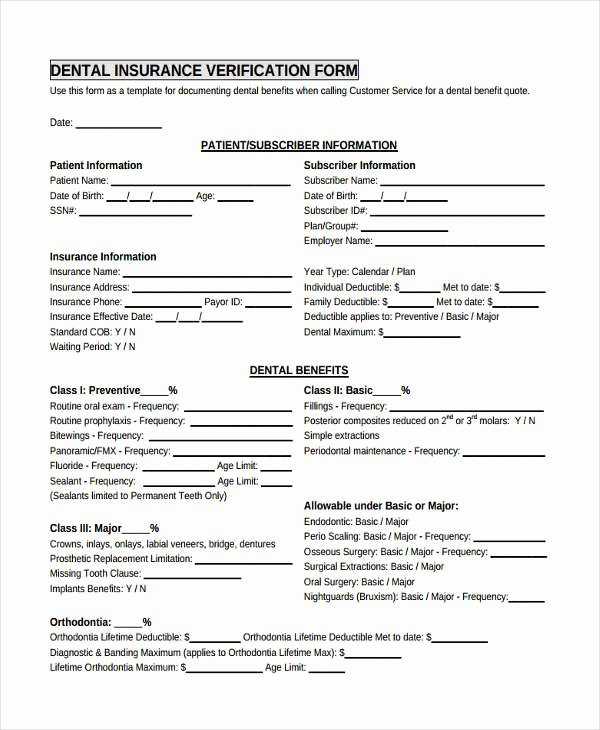 Dental Patient Registration form Template Best Of Free 23 Insurance Verification form Templates