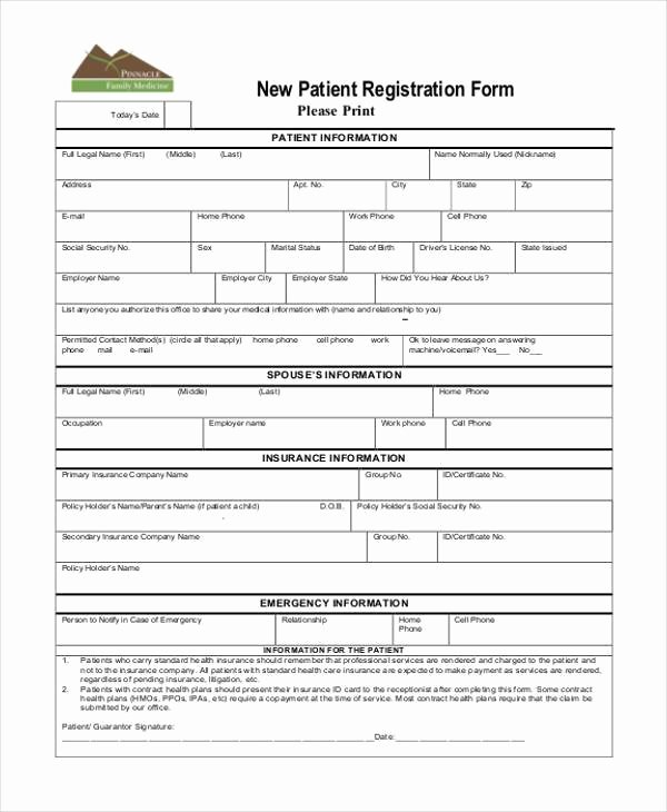 Dental Patient Registration form Template Elegant Free 38 Registration form Templates