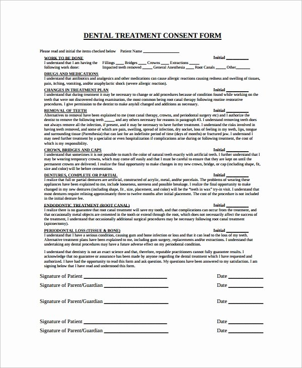 Dental Patient Registration form Template Elegant Sample Dental Consent form 5 Documents In Pdf