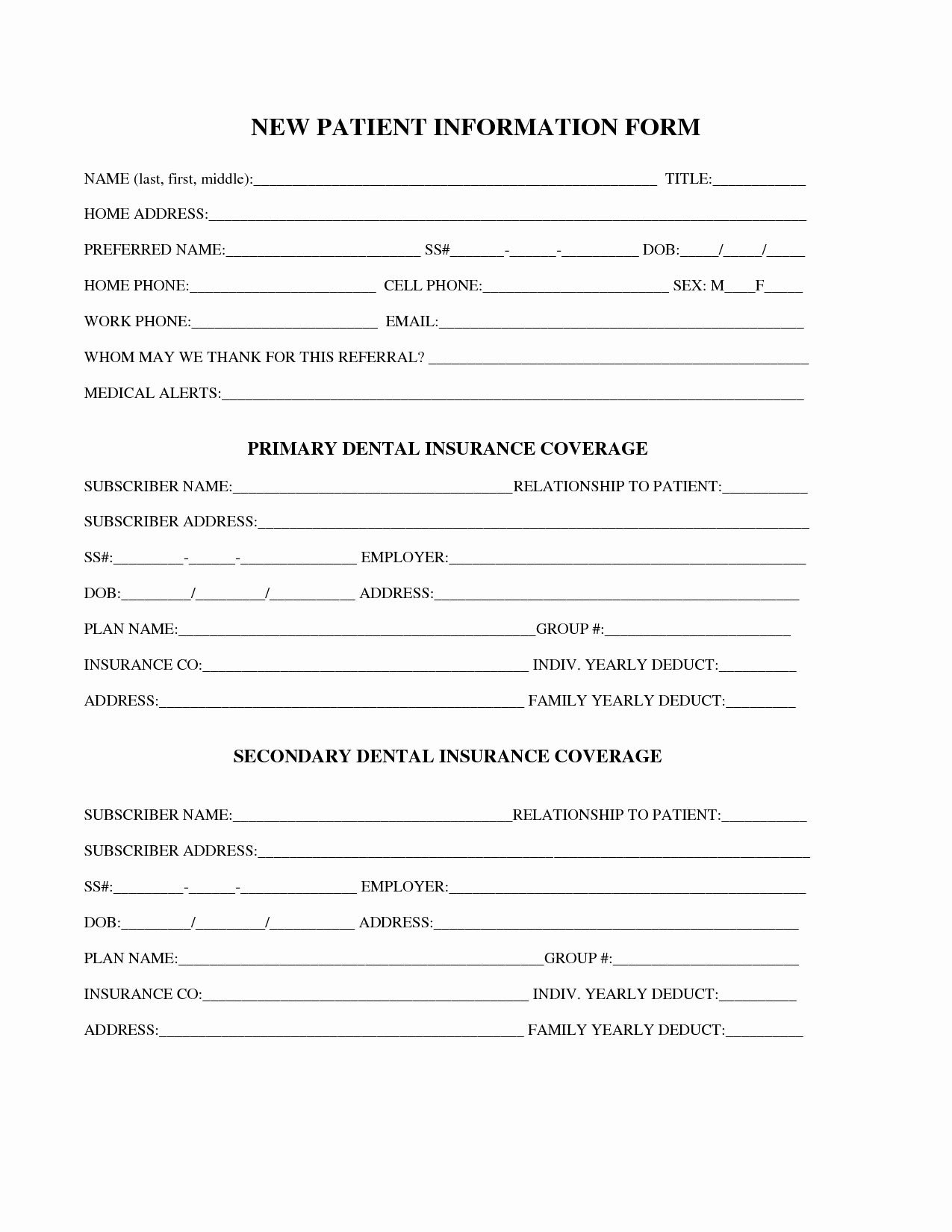 Dental Patient Registration form Template Inspirational 27 Of Dental New Patient forms Template