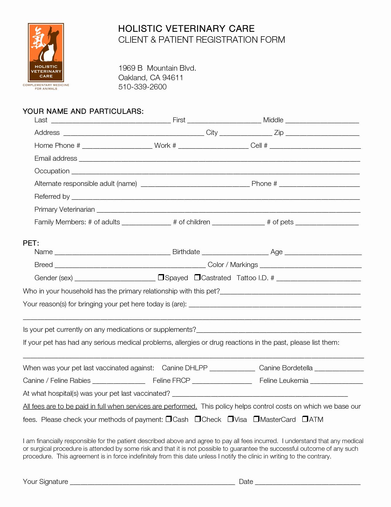 Dental Patient Registration form Template Inspirational Best S Of Printable Patient Registration forms