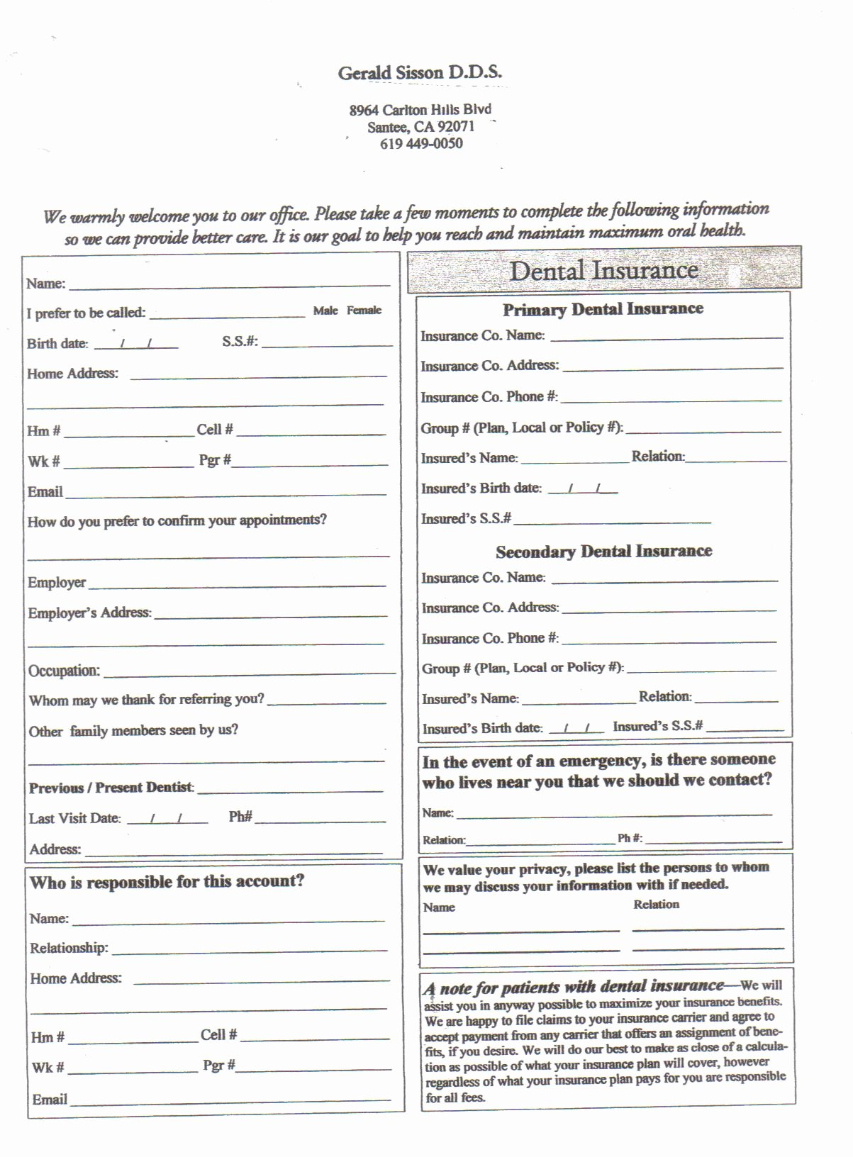 Dental Patient Registration form Template Lovely Best S Of Medical Fice Patient forms New Patient