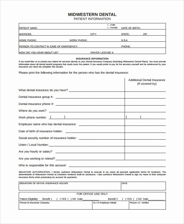 Dental Patient Registration form Template Lovely Sample Patient Registration form 8 Free Documents