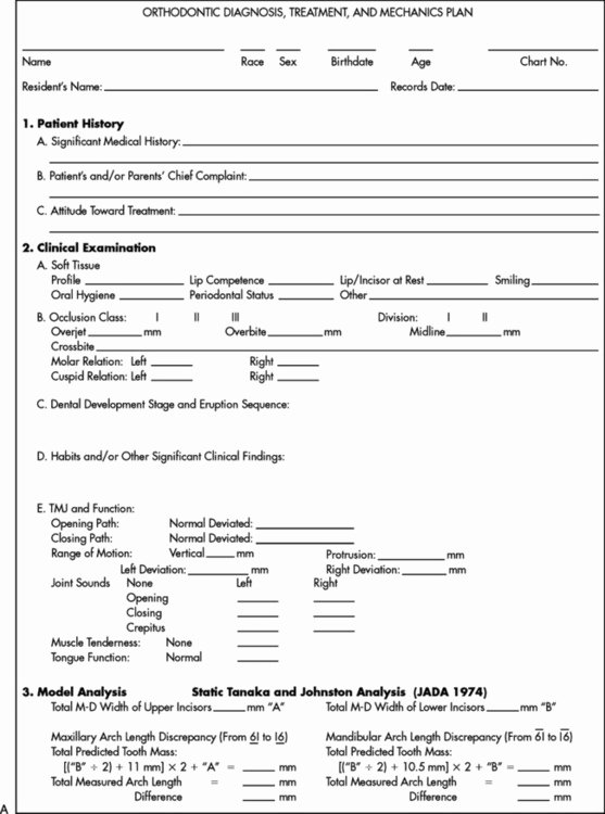 Dental Treatment Plan Template Best Of 27 Managing the Developing Occlusion