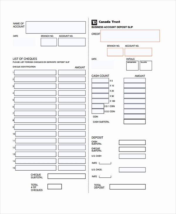 Deposit Slip Template Word Lovely Sample Deposit Slip Template 8 Free Documents Download