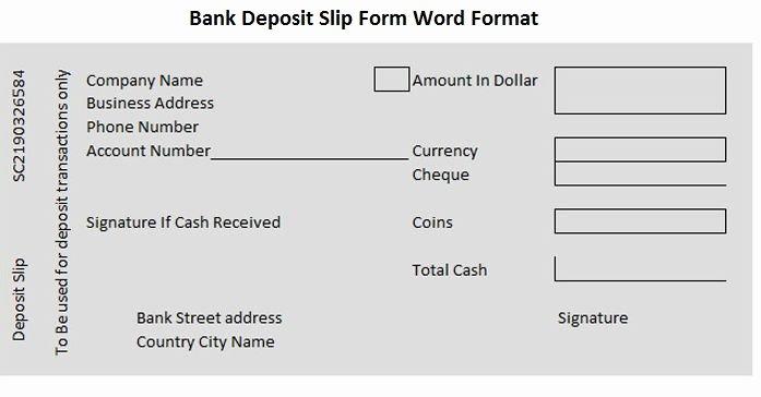 Deposit Slip Template Word Luxury Bank Deposit Slip form Word format