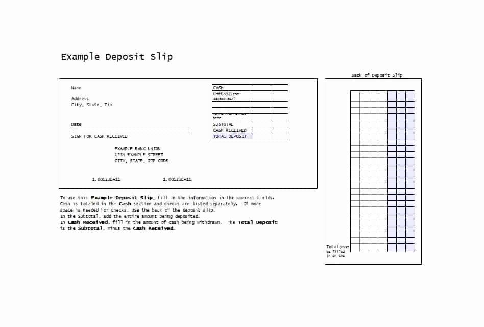 Deposit Slip Template Word New 37 Bank Deposit Slip Templates & Examples Template Lab