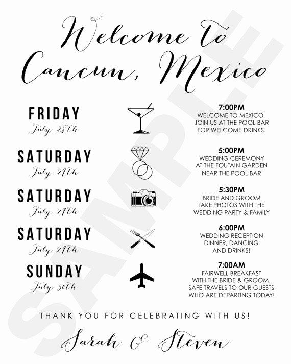 Destination Wedding Itinerary Template Awesome Cancun Mexico Destination Wedding Wel E Bag Weekend