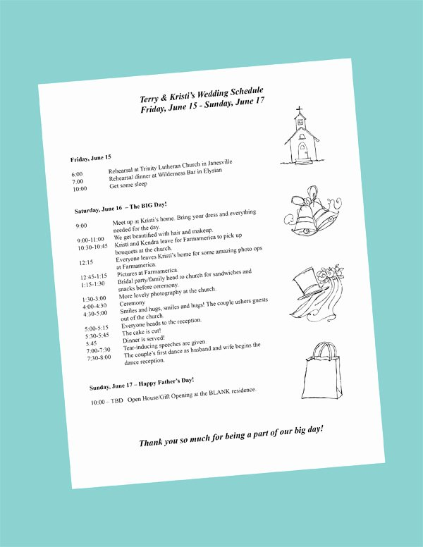Destination Wedding Itinerary Template Beautiful Putting to Her Your Wedding Day Itinerary