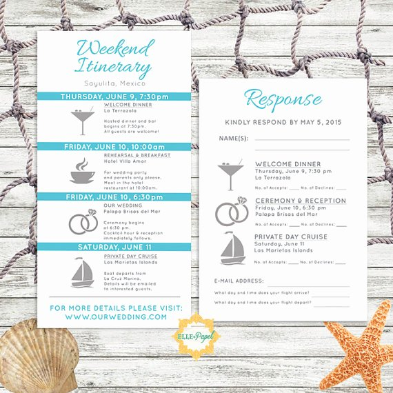 Destination Wedding Itinerary Template Beautiful Simple and Modern Wedding Itinerary Card with Rsvp Card