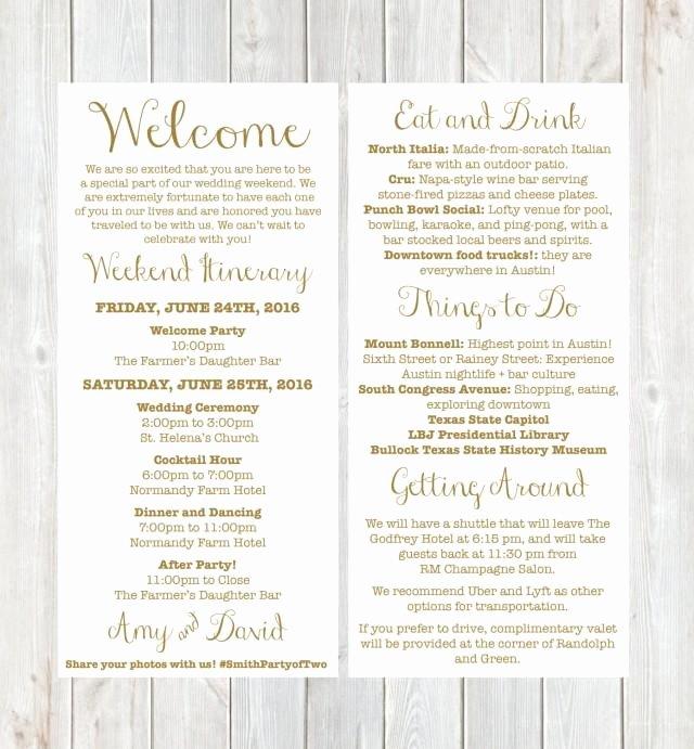 Destination Wedding Itinerary Template Beautiful Wel E Letter Weekend Itinerary Wedding Itinerary Gold