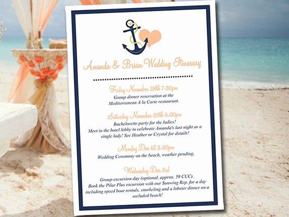 Destination Wedding Itinerary Template Inspirational Beach Wedding Itinerary Template Wedding Planner Anchor