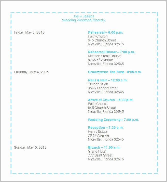 Destination Wedding Itinerary Template Lovely Destination Wedding Itinerary Template