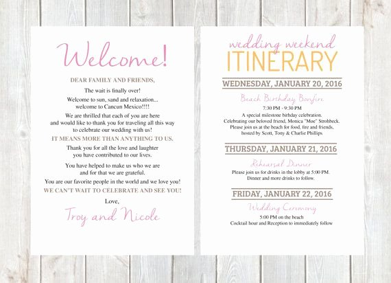 Destination Wedding Itinerary Template Lovely Wel E Letter Wedding Wel E Letter Wedding Itinerary