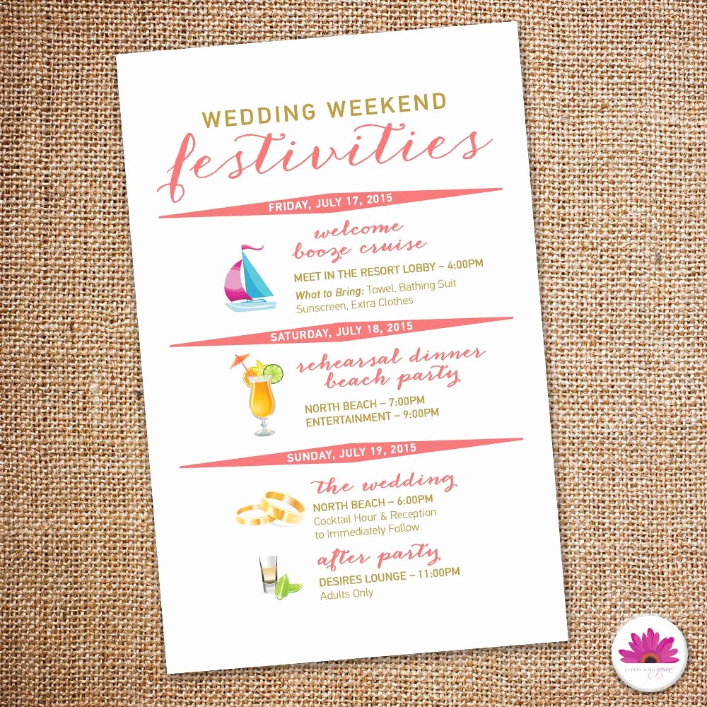Destination Wedding Itinerary Template New Destination Wedding Weekend Itinerary Beach Wedding Day Time
