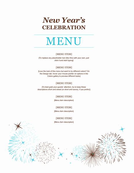 Dinner Menu Template Word Beautiful New Year Party Menu Template