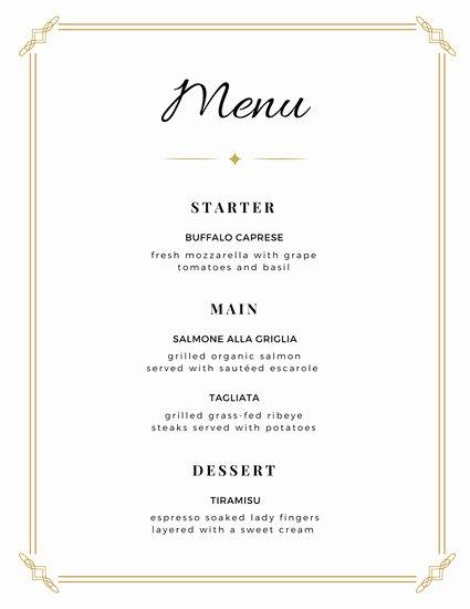 Dinner Menu Template Word Beautiful Wedding Bordered Minimalist Menu Templates by Canva