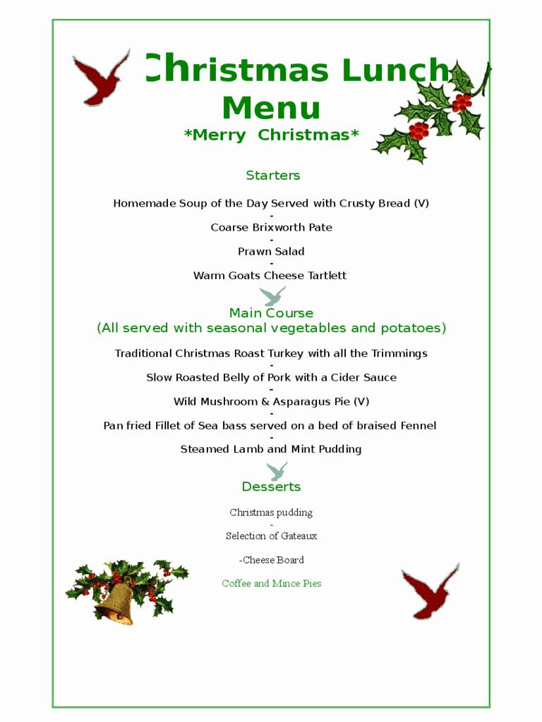 Dinner Menu Template Word Lovely Free Printable Christmas Dinner Menu Template – Festival
