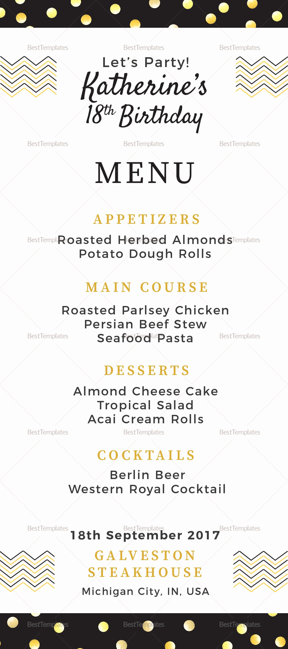 Dinner Menu Template Word Luxury Birthday Dinner Party Menu Design Template In Psd Word