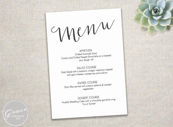 Dinner Menu Template Word Luxury Printable Black Menu Template Slant Calligraphy Style