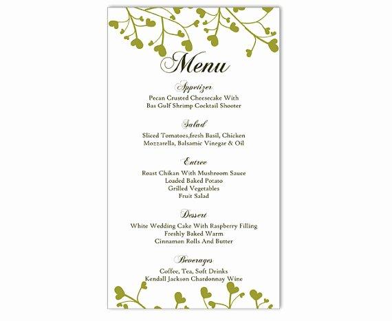 Dinner Menu Template Word Luxury Wedding Menu Template Diy Menu Card Template Editable Text