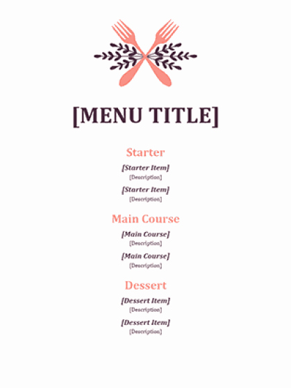 Dinner Menu Template Word Unique 21 Free Free Restaurant Menu Templates Word Excel formats