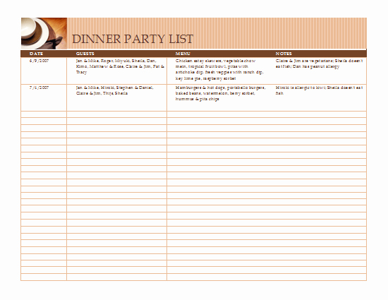 Dinner Party Menu Templates Awesome Lists Fice